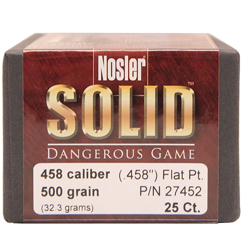 Nosler 458 Caliber  500 gr. Flat Point (Per 25)