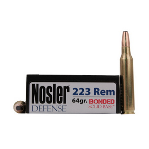 Nosler Nosler Defense Bonded Solid Base 223 Remington 64 Grain Bonded Performance (Per 20) 39674