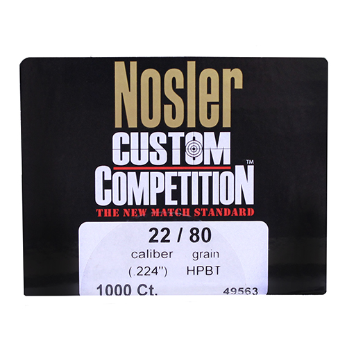 Nosler 22 Caliber (.224) 80gr Custom Competition HPBT (Per 1000)