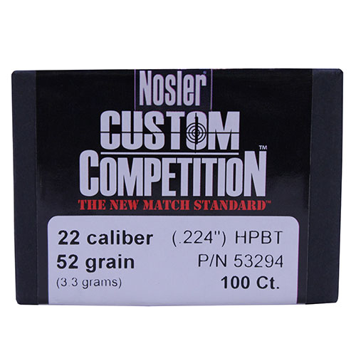 Nosler 22 Caliber (.224) 52 Gr Hollow Point Boat Tail (Per 100)