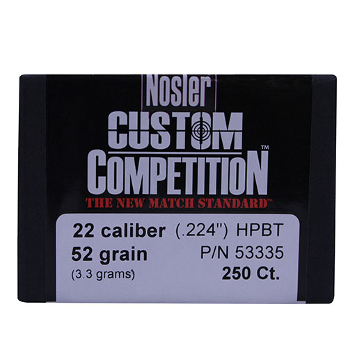 Nosler Nosler 22 Caliber (.224) 52 Gr Hollow Point Boat Tail (Per 250) 53335