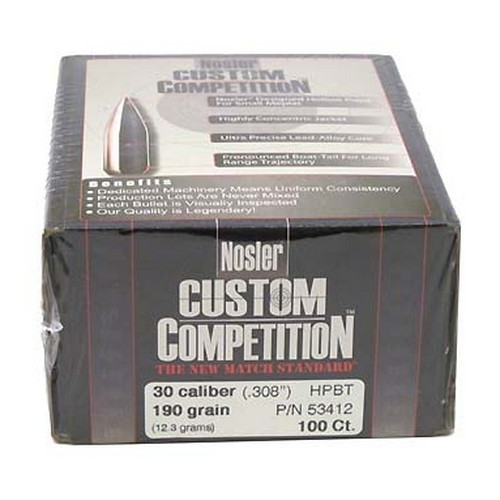 Nosler 30 Caliber 190gr Custom Competition HPBT (Per 100)