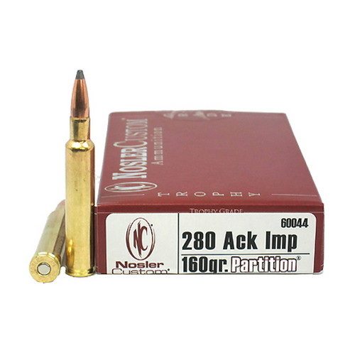 Nosler .280 Remington Ackley Imp, Trophy Ammunition 160gr Partition (Per 20)