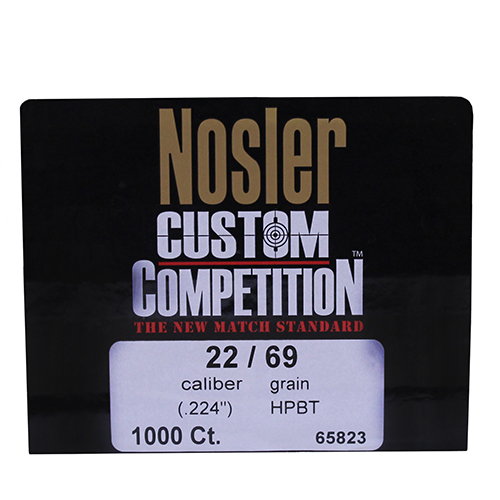Nosler Nosler 22 Caliber (.224) 69gr Custom Competition Hollow Point Boattail (Per 1000) 65823