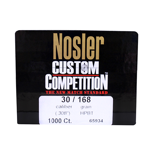 Nosler 30 Caliber 168gr Custom Competition, HPBT (Per 1000)