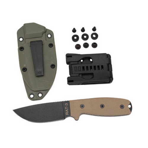 Ontario Knife Company Rat 1095 3, Green Sheath
