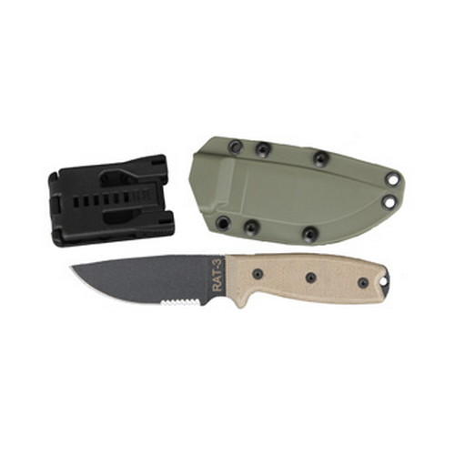 Ontario Knife Company Ontario Knife Company Rat 1095 3 - Serrated, Green Sheath 8633