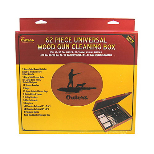 Outers Outers Universal Cleaning Kit 62pc .17 Cal & Up Wood Box 70081