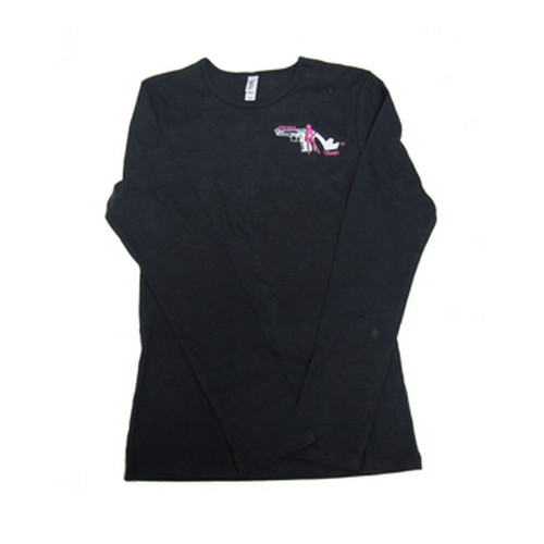 Pistols and Pumps Pistols and Pumps Long Sleeve Bella T-Shirt Black, Small PP101-BLK-S