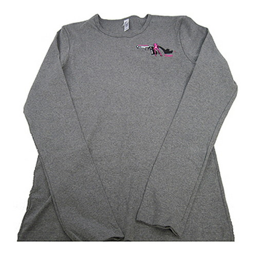 Pistols and Pumps Long Sleeve Bella T-Shirt Deep Heather, Small