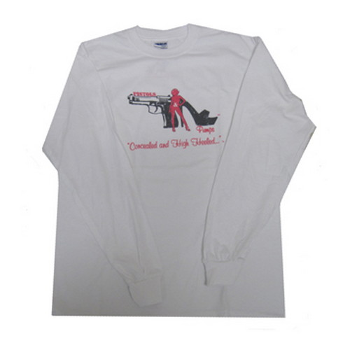 Pistols and Pumps Pistols and Pumps Long Sleeve 50/50 T-Shirt White, X-Large PP102-WH-XL
