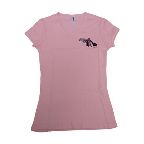 Pistols and Pumps Pistols and Pumps Short Sleeve Bella T-Shirt Pink, Small PP100-PK-S