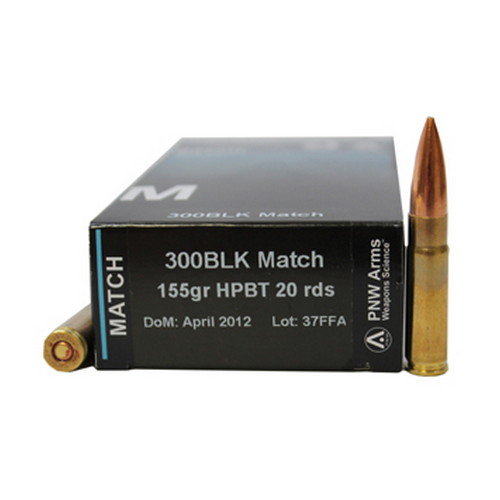 PNW Arms PNW Arms 300 BlackOut 155gr Nosler Custom Competition HPBT /20 300BLKMTH155MTHP20
