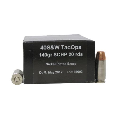 PNW Arms PNW Arms TacOps Ammunition 40 S&W 140 Gr Solid Copper HP (Per 20) 40SWTAC155SCHP20