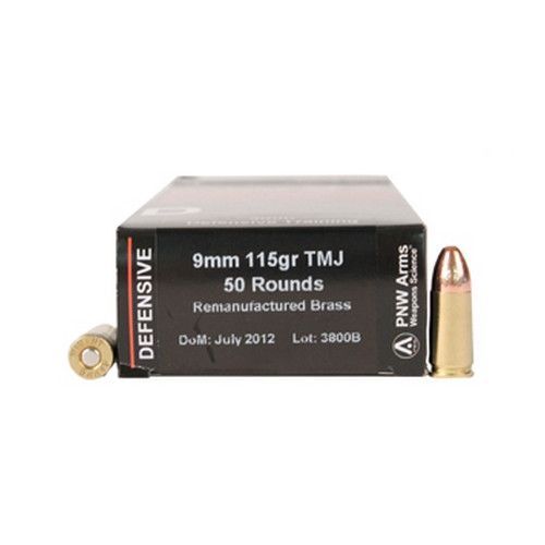 PNW Arms PNW Arms Defensive Trainer Ammunition 9mm 115gr TMJ (RemanBrass)/50 9MMDTR124TMJ50R