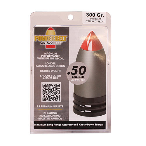 Powerbelt Bullets Powerbelt Bullets AeroLite AeroTip 50 Caliber Bullets (Per 15) 300 Gr AC1552AT