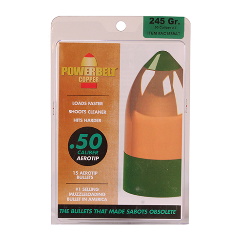 Powerbelt Bullets Copper AeroTip 50 Caliber Bullets (Per 15) 245 Gr