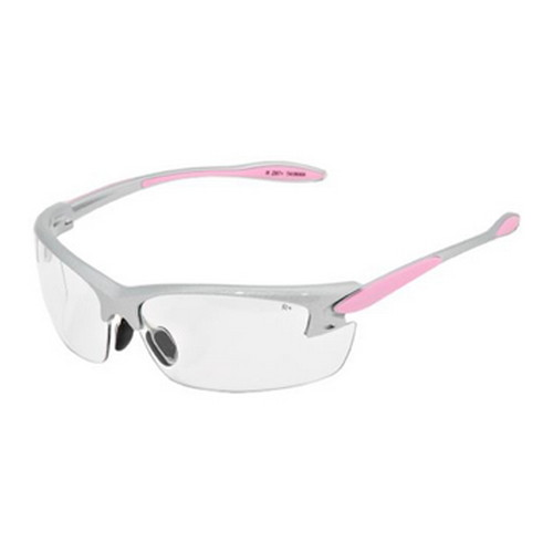 Radians Women's Shooting Glasses Clear Lens, Silver & Pink Frame