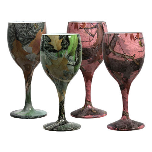 Rivers Edge Products Rivers Edge Products 4 Pack Camo Wine Glasses 2 Green /2 Pink 091