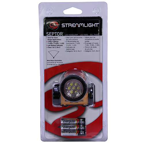 Streamlight Streamlight Septor Headlight, Yellow with Elastic and Rubber Strap 61052