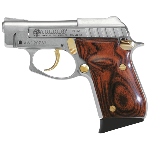 """Pistol Taurus PT22 .22 Long Rifle, 2.75"""" Barrel, Fixed Sights, (Nickel with Gold and Rosewood) 1220035G"""