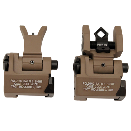 Troy Industries Troy Industries Micro- M4 Sight Set Flat Dark Earth, Folding SSIG-MCM-SSFT-00