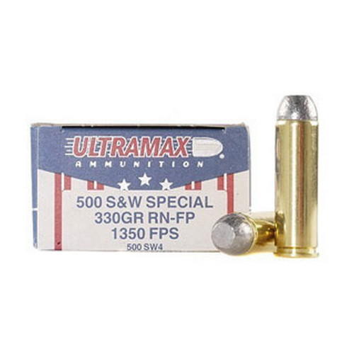 Ultramax Ultramax 500 Smith & Wesson by 500 S&W, 330gr, Round Nose Flat Point, (Per 20) 500SW4