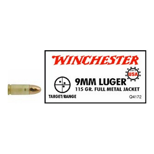 Winchester Ammo Winchester Ammo 9mm Luger 9mm Luger, USA 115gr., Full Metal Jacket, (Per 50) Q4172