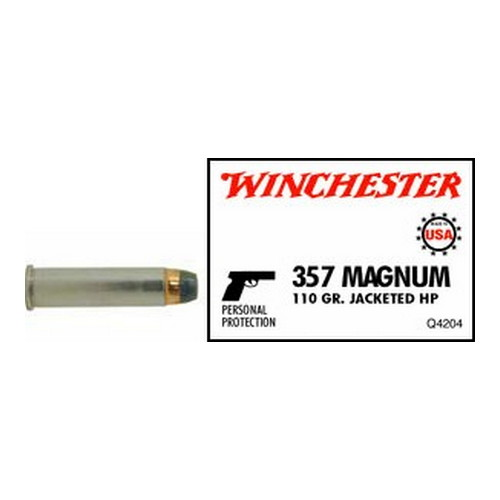 Winchester Ammo Winchester Ammo 357 Magnum 357 Mag, USA 110gr., Jacketed Hollow Point, (Per 50) Q4204