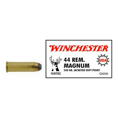 Winchester Ammo Winchester Ammo 44 Remington Magnum 44 Remington Mag, USA 240gr., Jacketed Soft Point, (Per 50) Q4240