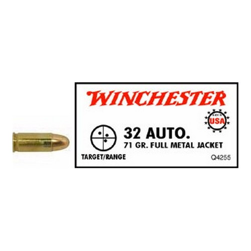 Winchester Ammo Winchester Ammo 32 Automatic 32 Automatic, USA 71gr., Full Metal Jacket, (Per 50) Q4255