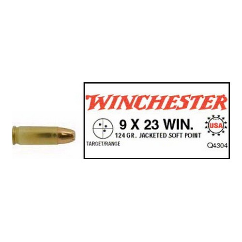 Winchester Ammo Winchester Ammo 9x23 Winchester 9x23 Win, USA 124gr., Jacketed Soft Point, (Per 50) Q4304