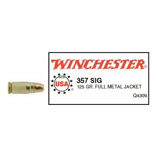 Winchester Ammo Winchester Ammo 357 Sig 357 Sig, USA 125gr., Full Metal Jacket - Flat Nose, (Per 50) Q4309