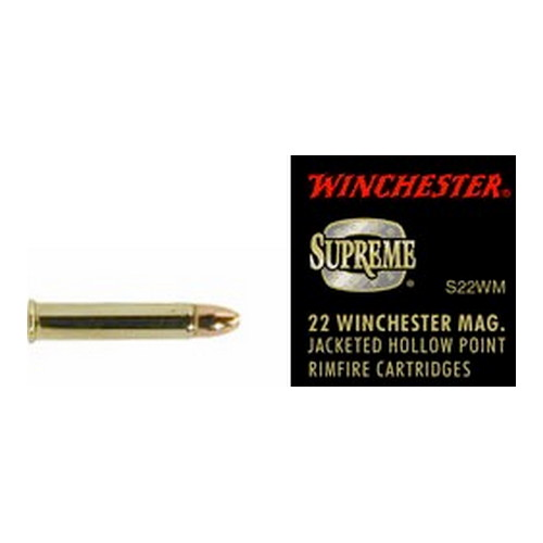 Winchester Ammo Winchester Ammo 22 Winchester Magnum 22 Win Mag, 34 grain, Jacketed Hollow Point, (Per 50) S22WM