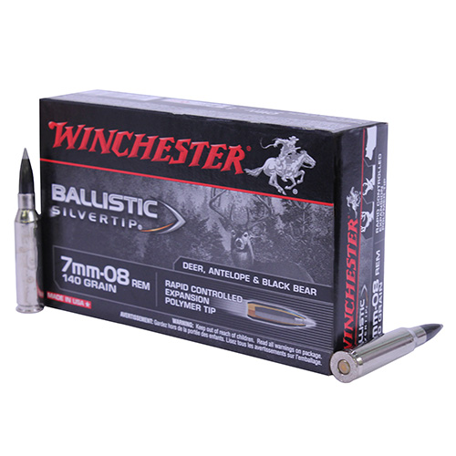 Winchester Ammo Winchester Ammo 7mm-08 Remington 7mm-08 Remington, Supreme 140gr., Ballistic Silvertip, (Per 20) SBST708