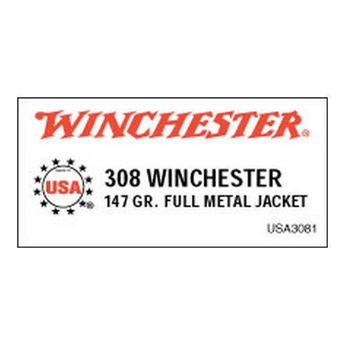 Winchester Ammo 308 Winchester 308 Win, 147gr, USA Full Metal Jacket Boat Tail, (Per 20)