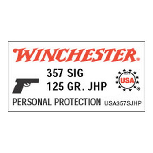 Winchester Ammo Winchester Ammo 357 Sig 357 Sig, 125gr, USA Jacketed Hollow Point, (Per 50) USA357SJHP