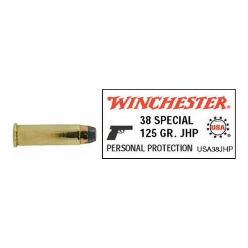 Winchester Ammo Winchester Ammo 38 Special 38 Special +P, 125gr, USA Jacketed Hollow Point, (Per 50) USA38JHP