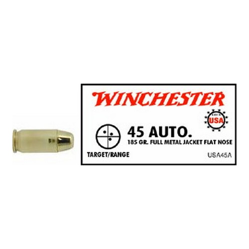 Winchester Ammo Winchester Ammo 45 Automatic 45 Auto, 185gr, USA Full Metal Jacket Flat Nose, (Per 50) USA45A
