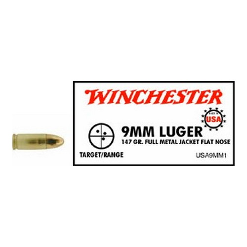 Winchester Ammo Winchester Ammo 9mm Luger 9mm Luger, 147gr, USA Full Metal Jacket Flat Nose, (Per 50) USA9MM1
