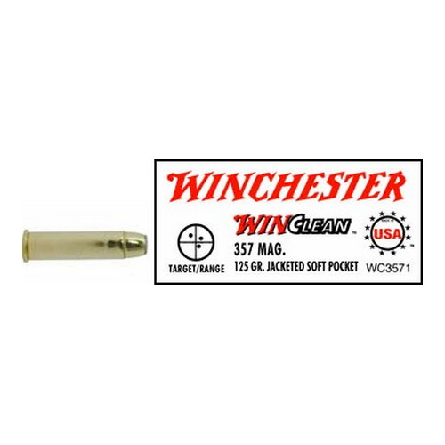 Winchester Ammo 357 Magnum 357 Mag, 125gr, WinClean Jacketed Soft Point, (Per 50) WC3571