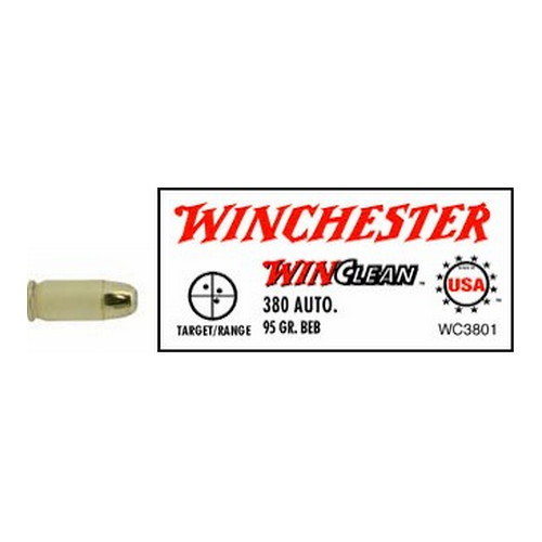 Winchester Ammo 380 Automatic 380 Auto, 95gr, WinClean Brass Enclosed Base,  (Per 50)
