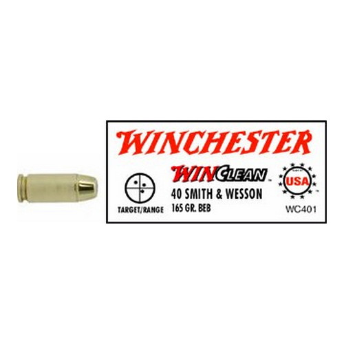Winchester Ammo Winchester Ammo 40 Smith & Wesson 40 S&W, 165gr, WinClean Brass Enclosed Base, (Per 50) WC401