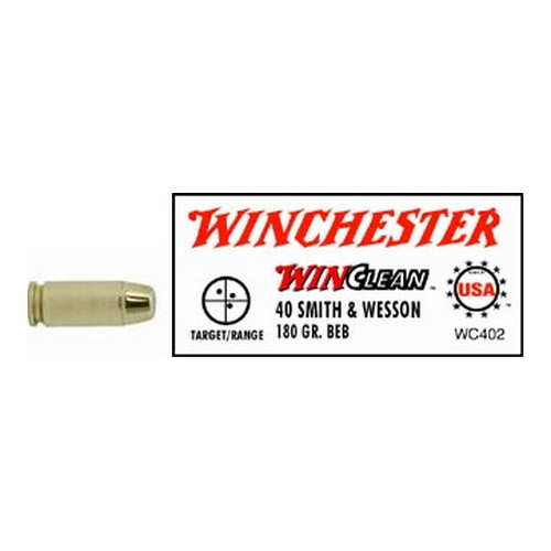 Winchester Ammo 40 Smith & Wesson 40 S&W, 180gr, WinClean Brass Enclosed Base, (Per 50)