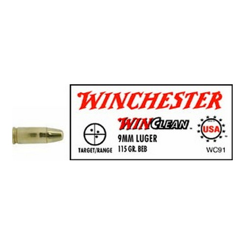 Winchester Ammo Winchester Ammo 9mm Luger 9mm Luger, 115gr, WinClean Brass Enclosed Base, (Per 50) WC91