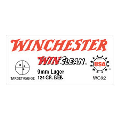 Winchester Ammo Winchester Ammo 9mm Luger 9mm Luger, 124gr, WinClean Brass Enclosed Base, (Per 50) WC92