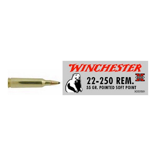 Winchester Ammo Winchester Ammo 22-250 Remington 55gr, Super-X, Pointed Soft Point, (Per 20) X222501