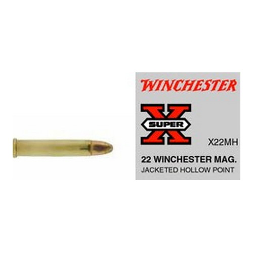 Winchester Ammo Winchester Ammo 22 Winchester Magnum 22 Win Mag, 40gr, Super-X Jacketed Hollow Point, (Per 50) X22MH