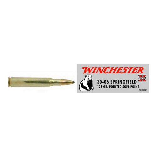 Winchester Ammo Winchester Ammo 30-06 Springfield 30-06 Springfield, 125grain, Super-X Pointed Soft Point, (Per 20) X30062