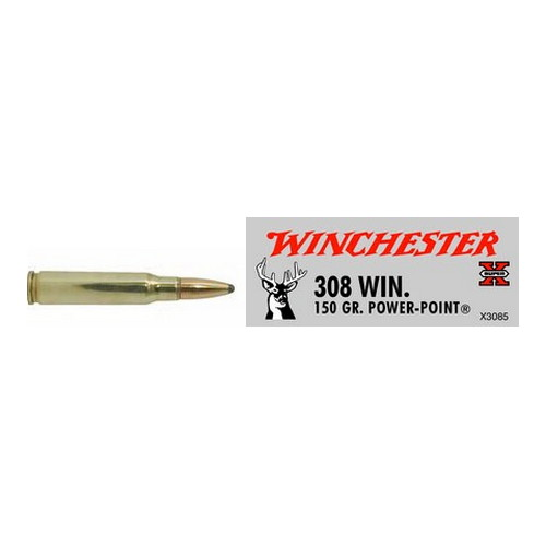 Winchester Ammo 308 Winchester 308 Win, 150gr, Super-X Power-Point, (Per 20)